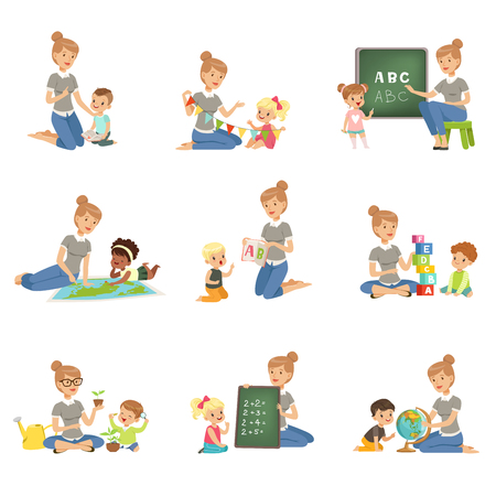 Ilustración de Cute little boys and girls playing and studying set, children study the alphabet, geography, biology, mathematics in kindergarten, pre primary school education concept vector Illustrations - Imagen libre de derechos