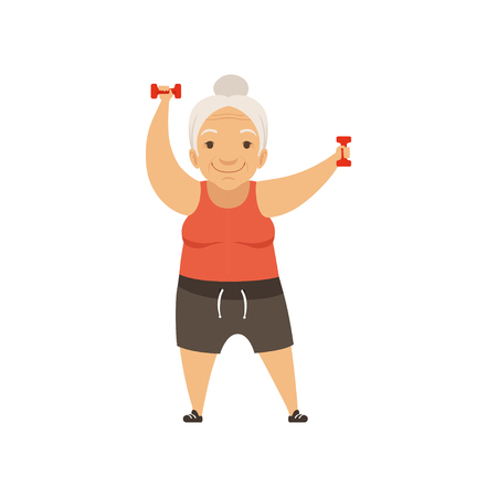 Illustration pour Grey senior woman in sports uniform exercising with dumbbells, grandmother character doing morning exercises or therapeutic gymnastics, active and healthy lifestyle vector Illustration - image libre de droit