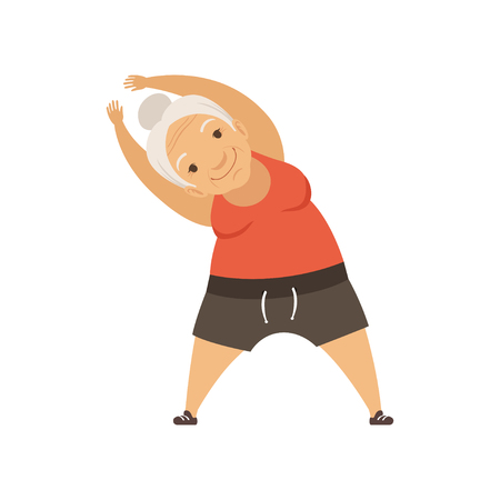 Photo for Grey senior woman doing sport exercise, incline to side, grandmother character doing morning exercises or therapeutic gymnastics, active and healthy lifestyle vector Illustration - Royalty Free Image