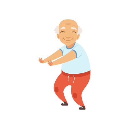 Ilustración de Senior man in sports uniform doing squats, grandmother character doing morning exercises or therapeutic gymnastics, active and healthy lifestyle vector Illustration on a white background - Imagen libre de derechos