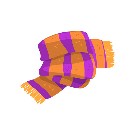 Illustration for Twisted striped scarf in orange and purple colors with fringe on the ends. Warm winter accessory. Colorful flat vector design - Royalty Free Image