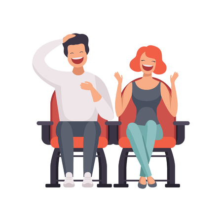 Illustration pour Smiling couple sitting in cinema theatre and watching comedy movie vector Illustration on a white background - image libre de droit