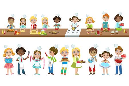 Illustration pour Kids On Cooking Lesson - image libre de droit