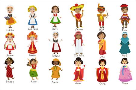 Ilustración de Kids In National Costumes Set - Imagen libre de derechos