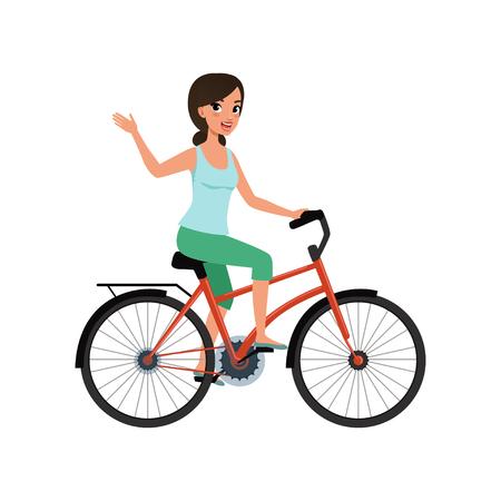 Ilustración de Young woman riding a bike and waving her hand, active lifestyle concept vector Illustrations on a white background - Imagen libre de derechos
