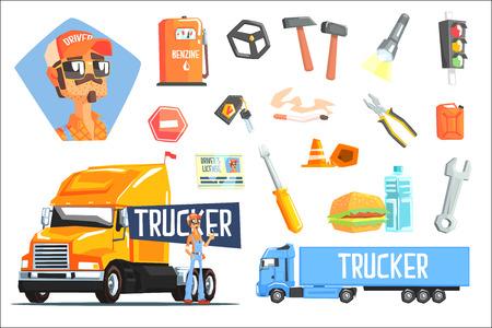 Ilustración de Long-Distance Truck Driver And Elements Related To This Job - Imagen libre de derechos