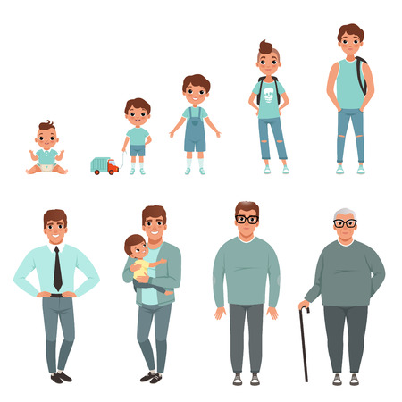 Illustration pour Life cycles of man, stages of growing up from baby to man vector Illustration - image libre de droit