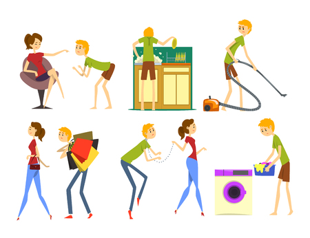 Illustration pour Henpecked man set, husband dominated by wife, househusband doing household cartoon vector Illustrations on a white background - image libre de droit