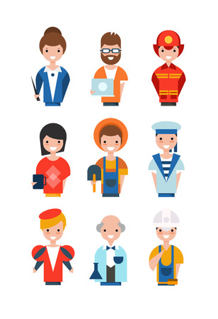 People of different professions set, working people avatars, teacher, system administrator, fireman, farmer, scientist, actor, builder vector Illustrations
