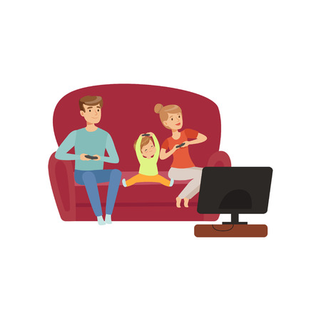 Illustration pour Mom, dad and their little son sitting on the sofa and watching TV, happy family and parenting concept vector Illustration on a white background - image libre de droit
