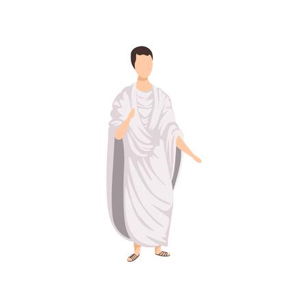 Illustration pour Roman citizen, man in traditional clothes of Ancient Rome vector Illustration on a white background - image libre de droit