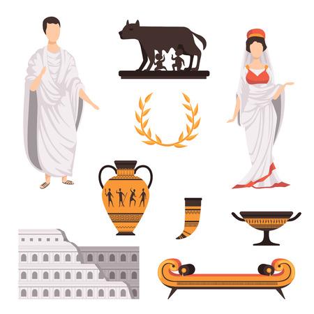 Illustration pour Traditional cultural symbols of ancient Rome set vector Illustrations on a white background - image libre de droit