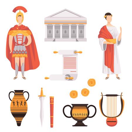 Illustration pour Traditional symbols of ancient Roman Empire set vector Illustrations on a white background - image libre de droit