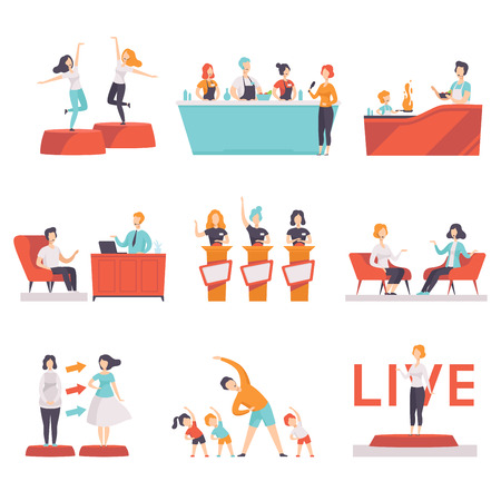 Ilustración de People taking part in a TV show set, entertainment, culinary, fashion, fitness shows on TV vector Illustrations on a white background - Imagen libre de derechos