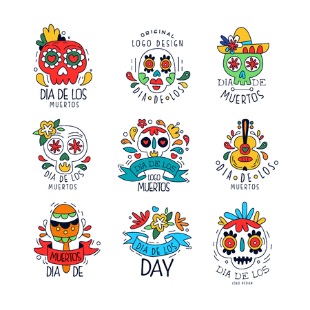 Illustration pour Dia De Los Muertos set, Mexican Day of the Dead holiday design elements can be used for party banner, poster, greeting card or invitation hand drawn vector Illustrations - image libre de droit