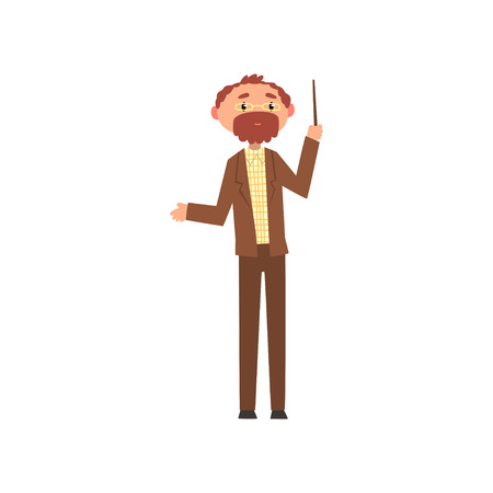 Illustration pour Middle aged professor standing with pointer, school teacher cartoon vector Illustration on a white background - image libre de droit