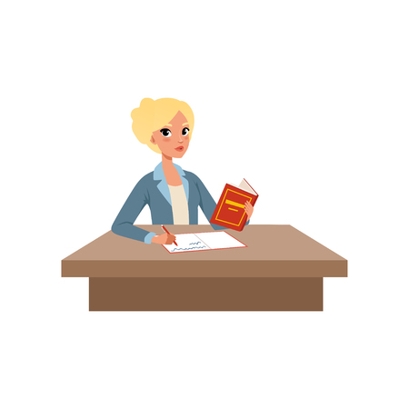 Illustration pour Girl sitting at the desk reading book and writing, student in learning process vector Illustration isolated on a white background. - image libre de droit