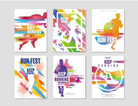 Illustration pour Run fest posters set, sport and competition concept, running marathon, colorful design element for card, banner, print, badge vector Illustrations - image libre de droit