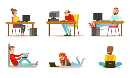 Ilustración de Set of cartoon peoples with laptops and computers. Young men and women working in internet, playing video games or chatting with friends. Colorful flat vector illustration isolated on white background - Imagen libre de derechos