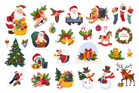 Ilustración de Christmas big set, New Year holiday decoration elements vector Illustrations isolated on a white background. - Imagen libre de derechos