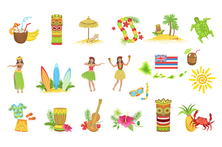 Illustration for Hawaiian Vacation Set Of Classic Symbols.. Isolated Flat Vector Icons With Traditional Hawaiian Representations. - Royalty Free Image