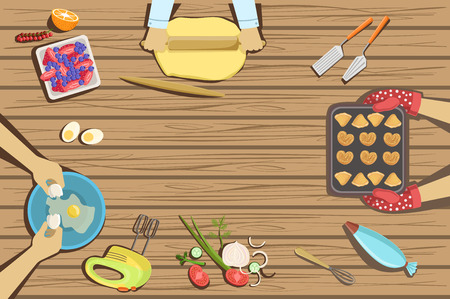 Illustration pour Children Craft And Cooking Class Two Illustrations With Only Hands Visible From Above The Table. Kids Art Lesson Working In Teams Colorful Cartoon Cute Vector Pictures. - image libre de droit