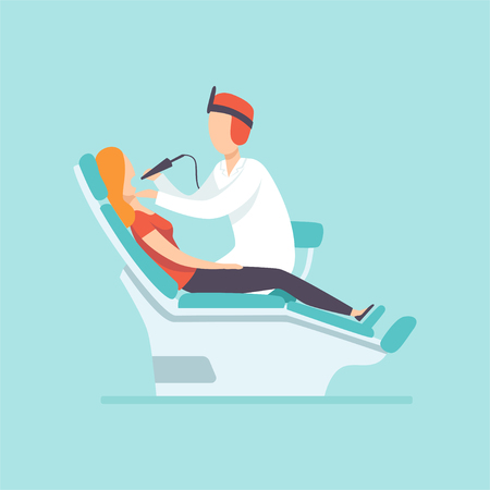 Illustration pour Male dentist examining female patient at dental clinic , medical treatment and healthcare concept vector Illustration in cartoon style - image libre de droit