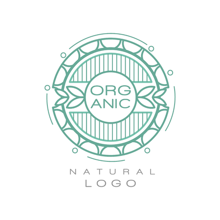 Illustration pour Organic natural logo design template, ecology sign for healthy products, natural cosmetics, premium quality food and drinks, packaging vector Illustration - image libre de droit