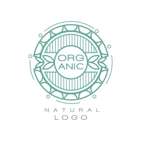 Ilustración de Organic natural logo design template, ecology sign for healthy products, natural cosmetics, premium quality food and drinks, packaging vector Illustration - Imagen libre de derechos