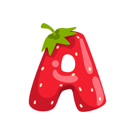 Ilustración de Letter A of English alphabet made from ripe fresh srawberry, bright red berry font vector Illustration isolated on a white background. - Imagen libre de derechos