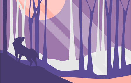 Illustration pour Beautiful scene of nature, peaceful landscape with forest and wolf at night time, template for banner, poster, magazine, cover horizontal vector Illustration, web design - image libre de droit