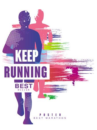 Ilustración de Keep running best gesign colorful poster template for sport event, marathon, championship, can be used for card, banner, print, leaflet vector Illustration - Imagen libre de derechos