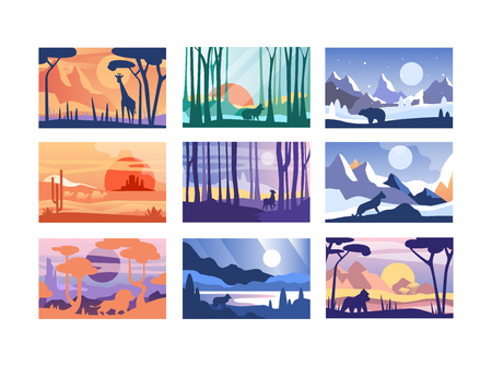 Illustration pour Collection of beautiful scene of nature, peaceful landscape with wild animals in different time of day, templates for banner, poster, magazine, cover horizontal vector Illustration - image libre de droit