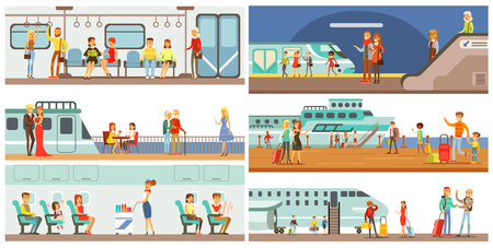 Illustration pour People in public transport set, passengers of the underground, airplane, cruise ship vector Illustrations - image libre de droit