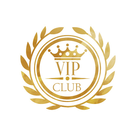 Ilustración de VIP club, luxury golden badge for club, resort, boutique, restaurant, hotel vector Illustration on a white background - Imagen libre de derechos