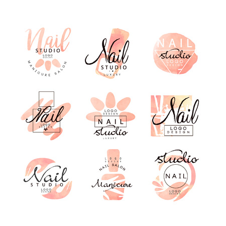 Ilustración de Manicure nail studio design set, creative templates for nail bar, beauty saloon, manicurist technician vector Illustrations on a white background - Imagen libre de derechos