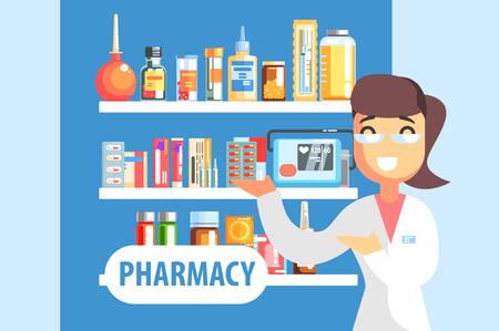 Ilustración de Woman Pharmacist Demonstrating Drug Assortment On The Shelf Of Pharmacy.Cool Colorful Flat Vector Illustration In Stylized Geometric Cartoon Design - Imagen libre de derechos