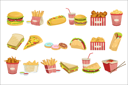 Ilustración de Fast Food Menu Items Realistic Detailed Illustrations. Take Away Lunch Set Of Icons Isolated On White Background. - Imagen libre de derechos