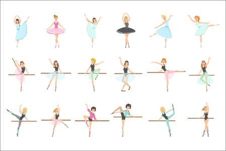 Illustration for Ballerinas Training In Dance Class Set Of Flat Simplified Childish Style Cute Vector Illustrations Isolated On White Background - Royalty Free Image