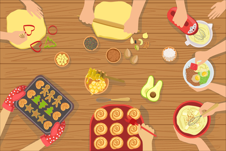 Illustration for People Cooking Pastry And Other Food Together View From Above. Simple Bright Color Vector Illustration With Only Hands Visible and Different Kitchen Attributes And Cooking Ingredients. - Royalty Free Image