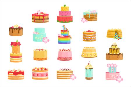 Illustration pour Special Occasion Decorated Cakes Assortment - image libre de droit