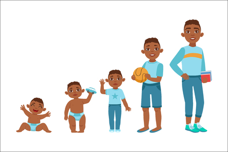 Illustration pour Black Boy Growing Stages With Illustrations In Different Age. Simple Cute Drawings Showing The Same Person As Baby, Kid, Teenager And Adult. Flat Vector Illustration On White Background. - image libre de droit