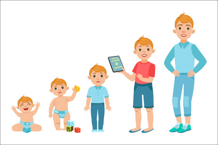 Caucasian Boy Growing Stages With Illustrations In Different Age. Simple Cute Drawings Showing The Same Person As Baby, Kid, Teenager And Adult. Flat Vector Illustration On White Background.