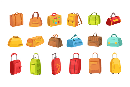 Illustration pour Suitcases And Other Luggage Bags Set Of Icons. Bright Color Isolated Illustrations In Simplified Childish Vector On White Background, - image libre de droit