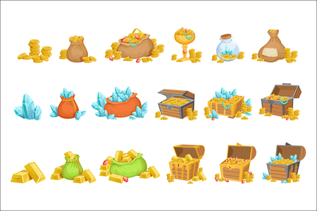 Illustration pour Treasure And Riches Set OF Game Design Elements. Cute Cartoon Style Illustrations With Gold, Jewels And Gems Isolated On White Background. - image libre de droit