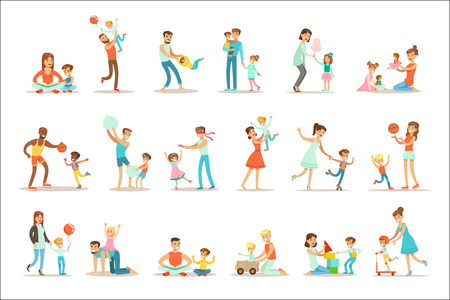 Illustration pour Loving Fathers Playing And Enjoying Good Quality Daddy Time With Their Happy Children Set Of Cartoon Illustrations Single Dad And Kid Smiling Flat Colorful Vector Characters Collection. - image libre de droit