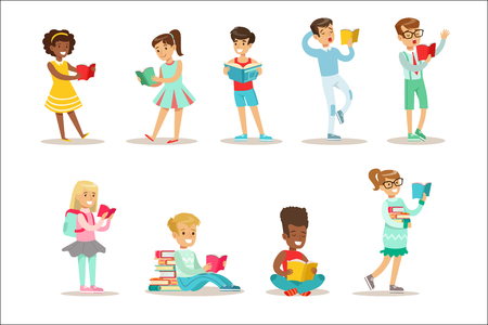 Vektor für Children Who Love To Read Set Of Illustrations With Kids Enjoying Reading Books At Home And In The Library. Teenager Bookworms Collection Of Cartoon Vector Characters Smiling And Enjoying Their Pastime. - Lizenzfreies Bild