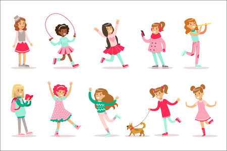 Illustration pour Happy And Their Expected Classic Behavior With Girly Games And Pink Dresses Set Of Traditional Female Kid Role Illustrations. Collection Of Smiling Teenage Girls And Their Interests Vector Flat Illustrations. - image libre de droit
