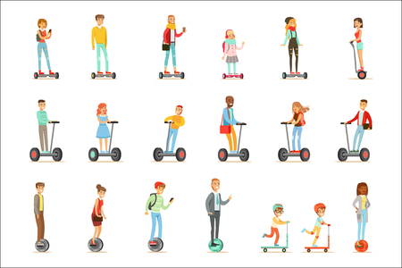 Illustration pour People Riding Electric Self-Balancing Batery Poweres Personal Electric Scooters Whith One Or Two Wheels, Set Of Cartooon Characters - image libre de droit
