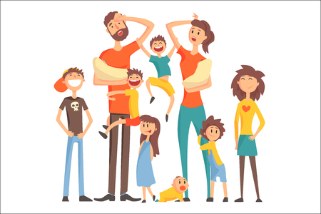 Foto de Happy Caucasian Family With Many Children Portrait With All The Kids And Babies And Tired Parents Colorful Illustration. Cartoon Loving Family Members Drawing With Children Of Different Ages, Man And Woman. - Imagen libre de derechos